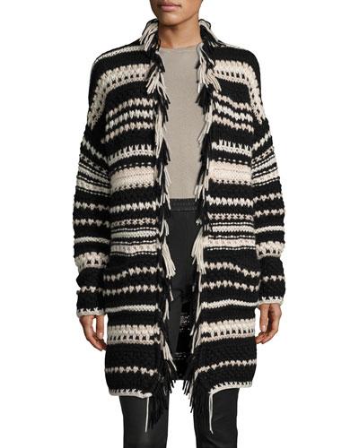 Hand-Knit Long Open Cardigan, Black Pattern