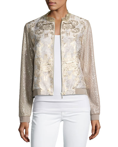 Glenna Textured Metallic Bomber Jacket