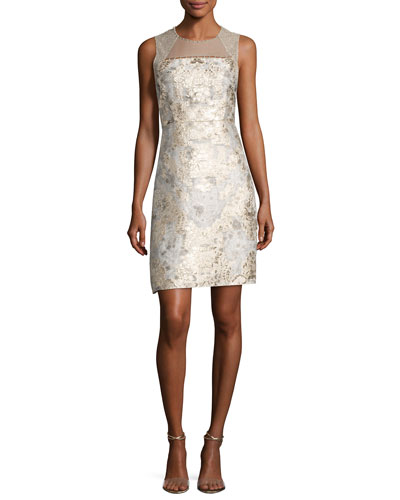 Vera Sleeveless Floral Brocade Cocktail Dress, Light Beige
