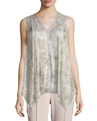 Elle Sleeveless Metallic Silk-Blend Blouse