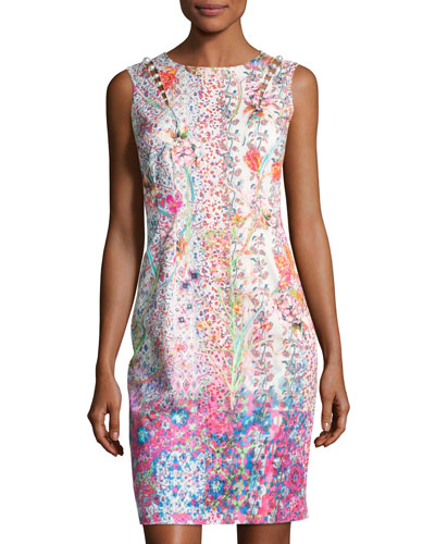 Emory Sleeveless Embellished Floral Sheath Dress