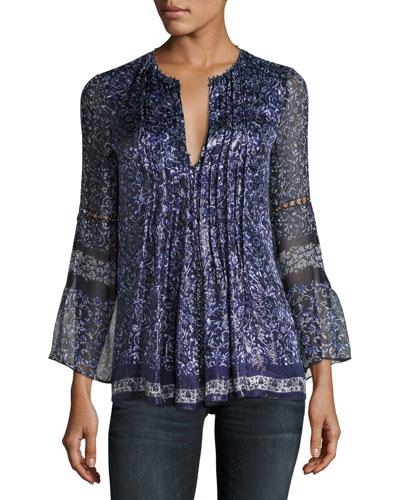 Orion Bell-Sleeve Floral-Print Blouse, Blue
