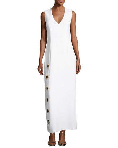 Ann Sleeveless Column Dress w/ Oversized Grommets