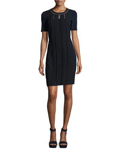 Marion Short-Sleeve Paneled Sheath Dress
