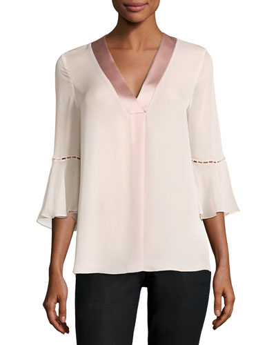 Rose 3/4-Sleeve Charmeuse-Trim Silk Chiffon Blouse