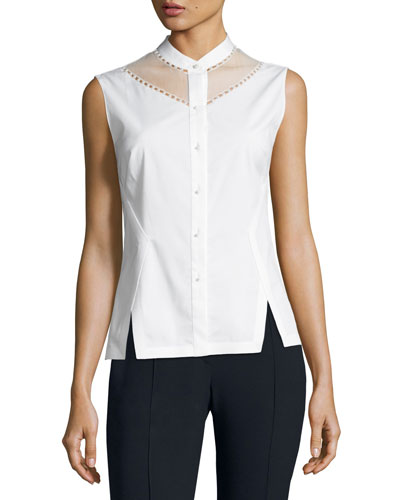 Josephine Sleeveless Blouse w/ Sheer Yoke & Pearly Trim, White