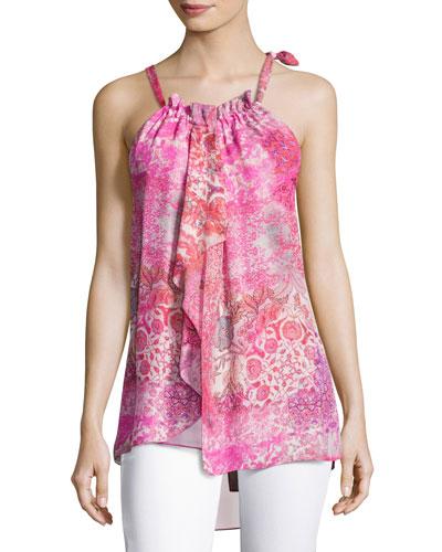 Carmen Floral-Print Silk Halter Blouse, Pink