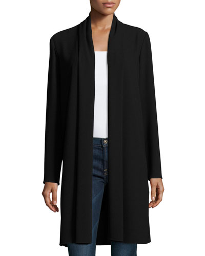 Coley Long Silk Topper Coat, Black