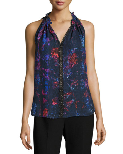 Bessie Sleeveless Floral-Print Blouse, Violet