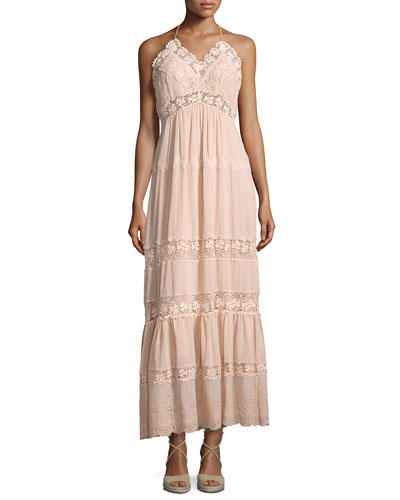 Eyelet Sleeveless Maxi Dress, Pink