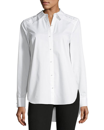 Alina Long-Sleeve Button-Front Silk Blouse w/ Pearlescent Trim