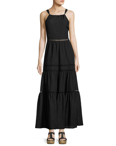 Sleeveless Textured Maxi Dress, Black