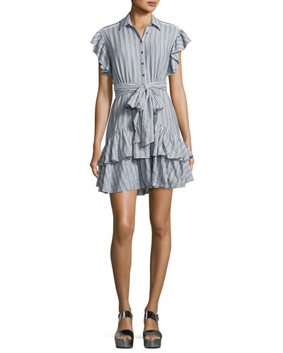 Cap-Sleeve Striped Ruffled Dress, Blue/White