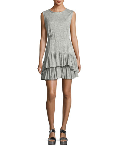 Short-Sleeve Tiered Jersey Tank Dress, Gray