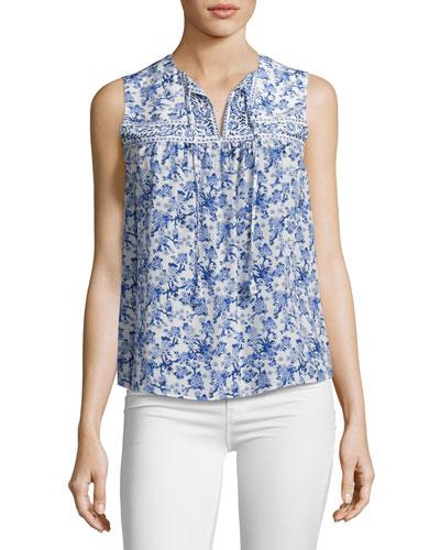 Aimee Floral Silk Top, Multi