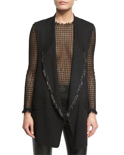 Open-Front Piercing Vest, Black