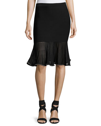 Flounce Skirt with Ball Chain Hem, Black