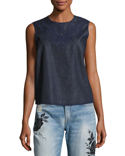 Sahara Denim Tank Top, Indigo