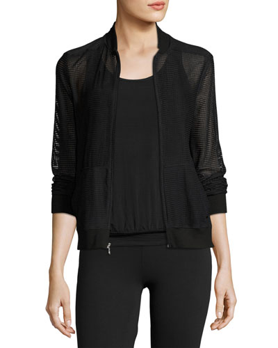 So Bomber Mesh Athletic Jacket, Black