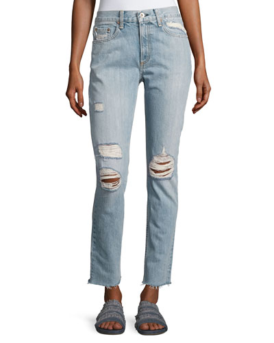 Marilyn Distressed Straight-Leg Jeans, Union Pool