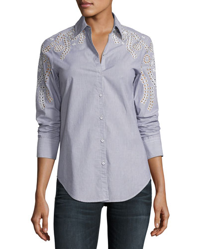 Stripe Sahara Embroidered Cotton Shirt, Blue