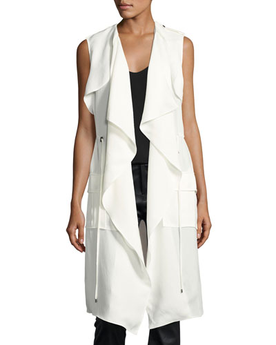 Drapey Cargo Sleeveless Trench Coat, White