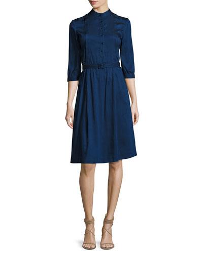 Marion Band-Collar Shirtdress, Indigo