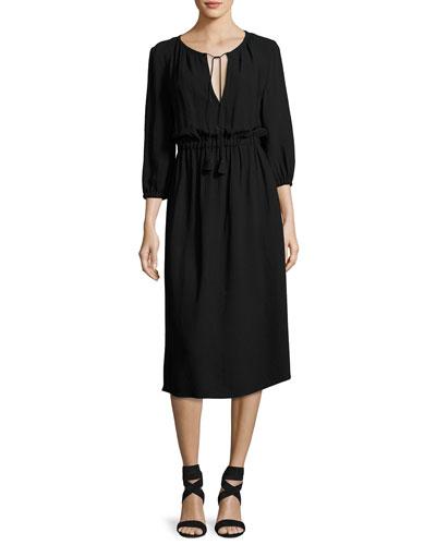 Mona 3/4-Sleeve Tie-Neck Dress, Black