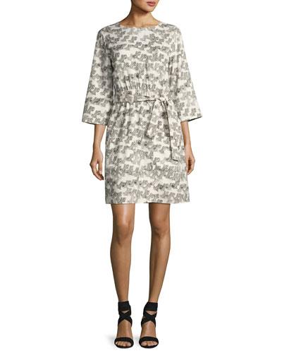 Love 3/4-Sleeve Tie-Waist Dress, White