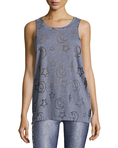 Stars & Moon Burnout Racerback Tank Top, Gray