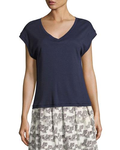 Marthe V-Neck T-Shirt, Navy