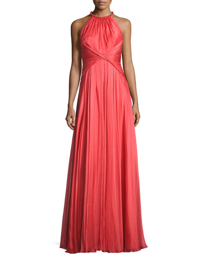 Sleeveless Shirred Silk Gown, Coral