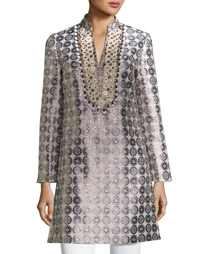 Embroidered Medallion Jacquard Tunic, Yellow