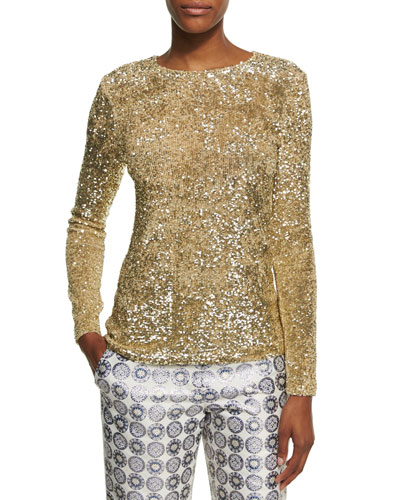 Long-Sleeve Sequined Top, Gold