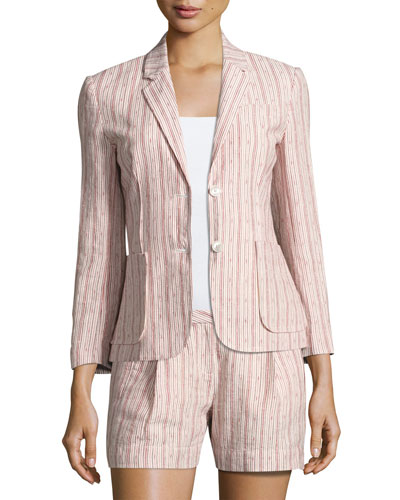 Cotton Linen School Boy Blazer, Pink Pattern