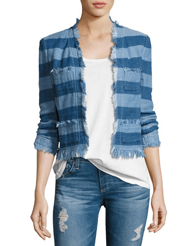 Capucine Striped Open-Front Denim Jacket, Blue
