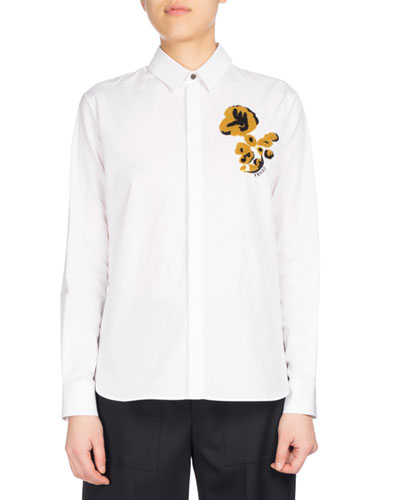 Casual Fit Shirt With Flower, White
