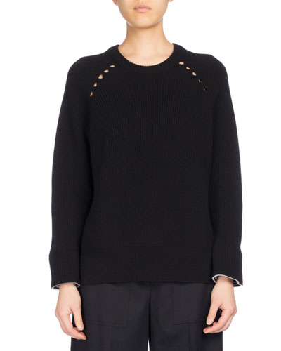Ribbed Sport Comfort Sweater, Black
