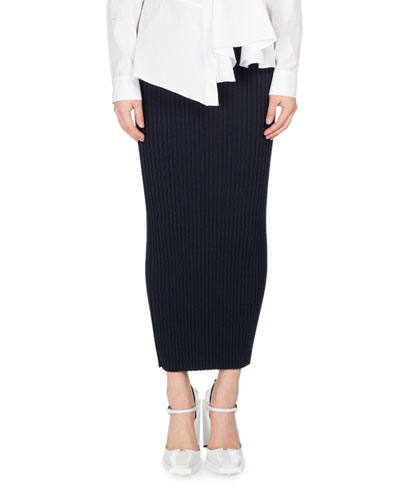 Bodycon Rib-Knit Wool Midi Skirt, Navy