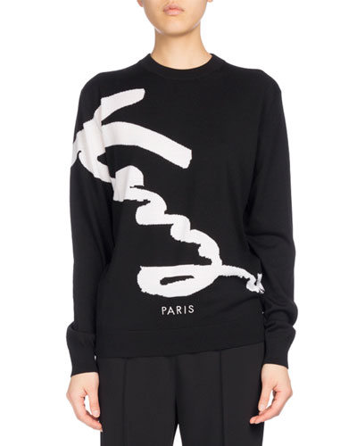 Signature Classic Pullover Sweater, Black