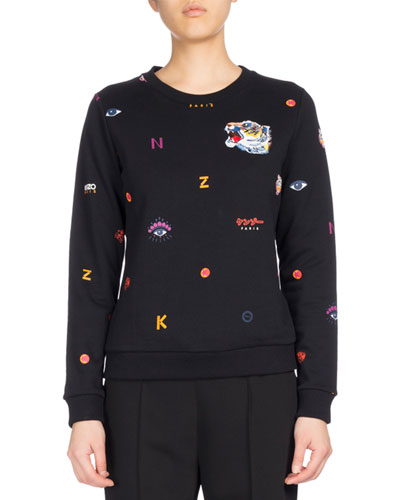 Allover Multi-Icons Classic Sweater, Black