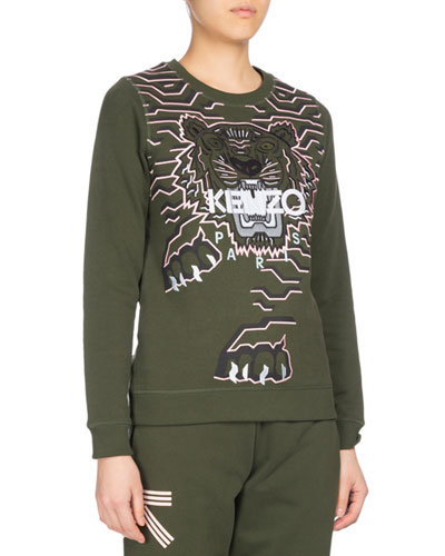 Geo Tiger Relaxed Sweatshirt, Olive