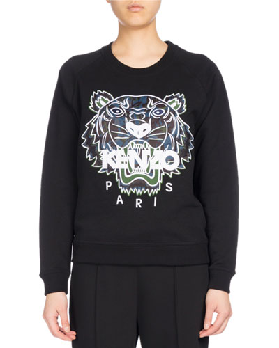 Floral Leaf Tiger Raglan Sweatshirt, Black
