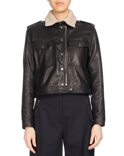 Fur-Collar Cropped Leather Jacket, Black