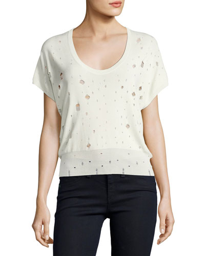 Short-Sleeve U-Neck Distressed Sweater, White