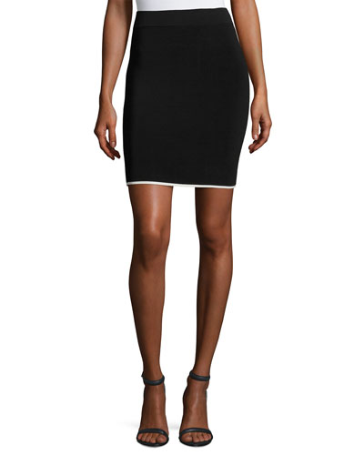 Pencil Skirt W/ Tipping, Black