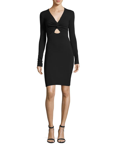 Twist-Front Stretch Long-Sleeve Dress, Black