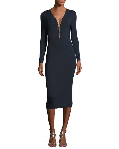 Lace-Up Long Sleeve Midi Dress, Navy Quick Look. T by Alexander Wang