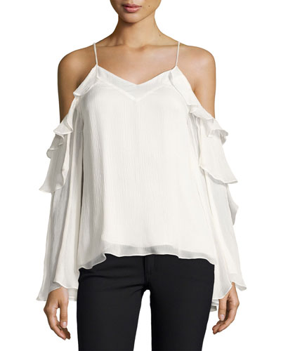Starshine Silk Cold-Shoulder Blouse, White