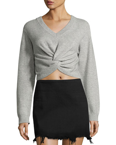 Long-Sleeve Twist-Front Sweater, Gray
